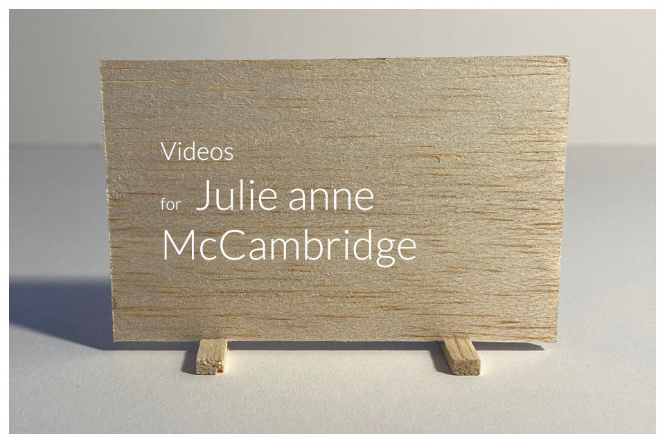 Video and website for Julie anne McCambridge