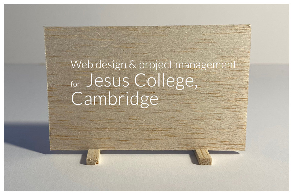 Web design and project management for Jesus College Cambridge