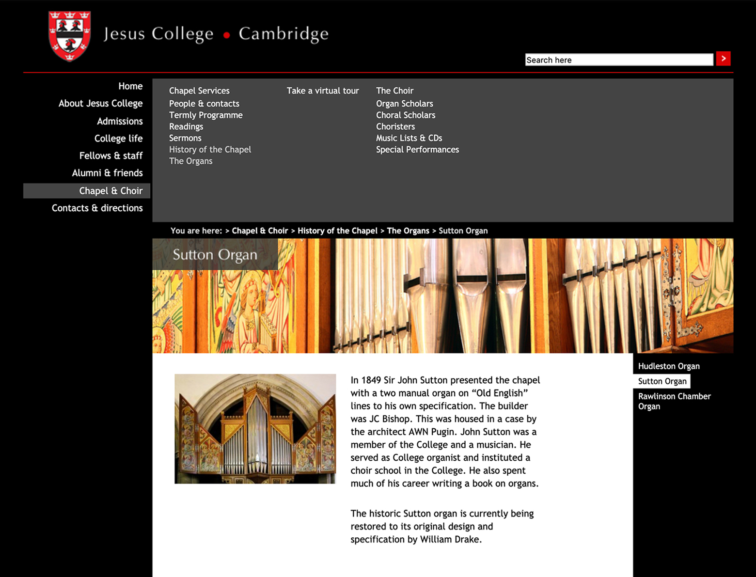 Jesus College choir page